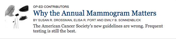 New York Times Annual Mammogram American Cancer Society